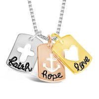 "Inspirational Tri-Colored ""Faith Hope Love"" Necklace"