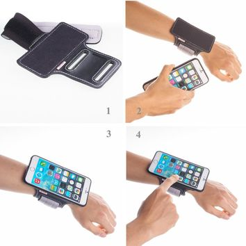 TFY Open Face Sport Armband Wrist Band Holder + Detachable Case for iPhone 6/6S Plus, Black & Grey belt - (Open-Face Design )