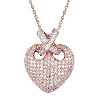 Puffed Heart Ribbon 14k Rose Gold Finish Pendant Valentine's