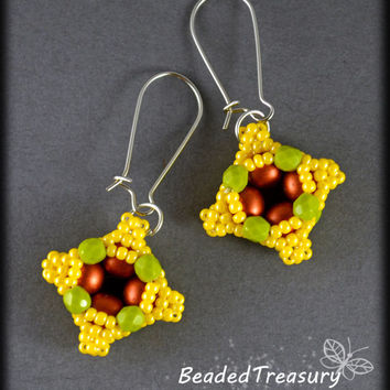 Everyday Earrings - beadwoven earrings tutorial / Beading tutorial / Earring pattern / Seed bead pattern / TUTORIAL ONLY