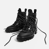 LACE-UP RUBBERISED ANKLE BOOTS DETAILS
