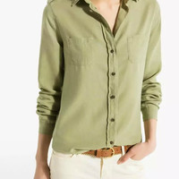 Army Green Long-Sleeve Button Collared Shirt