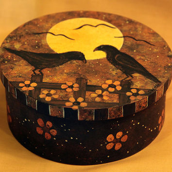 Halloween Folk Art Hand Painted Round Wood Box, Primitive Black Crows Sitting on Fence in Halloween Moonlit Sky, MADE TO ORDER
