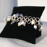 "Sterling Silver Plated Chainmaille Charm Bracelet, Soladite, Sapphire, Freshwater Pearls, ""Fiona"""