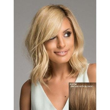 Charming Fluffy Natural Wavy Inclined Bang Human Hair Medium Capless Women's Wig - Brown With Blonde