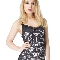 Rockabilly Goth White Flower Sugar Skull Sheer Skull Lace Back Tank Top