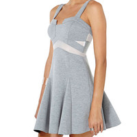 Grey Strappy Skater Dress with Back Zipper