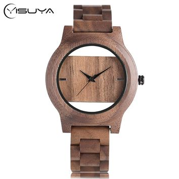 Unique Hollow Bangle Wood Wrist Watch