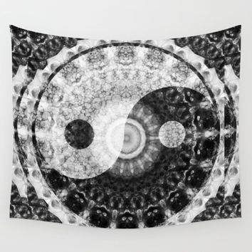 Ideal Balance Black And White Yin and Yang by Sharon Cummings Wall Tapestry by Sharon Cummings