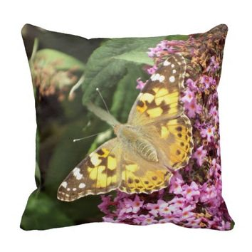 Painted Lady Butterfly, Plain Green Back Throw Pillow