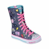Girls' Skechers Twinkle Toes Shuffles Patch Play Tall High Top Denim/Multi