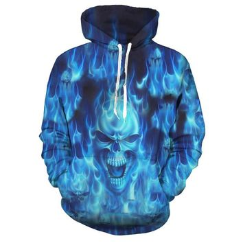 ca qiyif 3D Melted Skull Casual Pullover