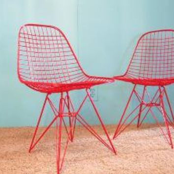 50s RED Mid Century Modern EAMES Eiffel Base CHAIR by fabulousmess