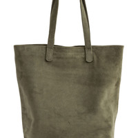 Basic Leather Tote: Olive Suede