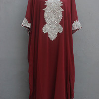 Red Maroon Caftan Dress With Fancy Silver Sequin Embroidery Dress for Wedding Bridesmaid Party Summer Kaftan Maxi Dress