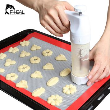 FHEAL Baking Pastry Tools Cookie Mold Press Gun 12 Flower Mold + 6 Pastry Tips Biscuit Cookie Cutter DIY Cake Cookie Making Tool
