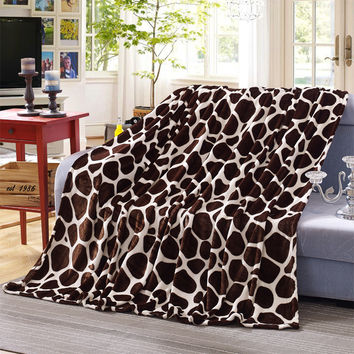 Super soft and warm Coral Fleece blanket on the bed Leopard blanket design elements 3 sizes