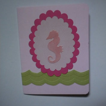 Pink Seahorse Greeting Card by lilaccottagecards on Etsy