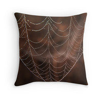Spider web, Throw pillow, Photography, Bedroom decor, Functional art, Brown, Black, White, Minimalist, Rustic, Cottage chic, Country western