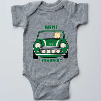 "Baby Onesuit-""Mini Pooper"" British car-Gender Neutral Outfit-Grey Onesuit bodysuit-Baby gift"