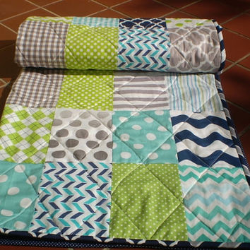 Nautical Baby quilt,navy blue,teal,grey,lime green,Baby boy bedding,baby boy quilt,crib,toddler,waves,chevrons,polka dot Nautical Lime Twist