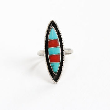 Vintage Sterling Silver Zuni Turquoise Coral Stone Ring - Retro 1960s 1970s Tribal Inlay Blue and Red Gem Native American Jewelry L&J