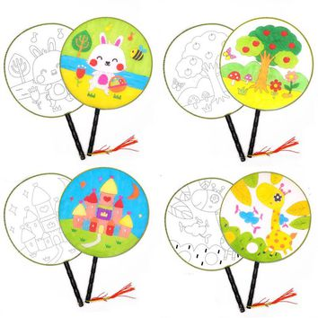 3Pcs DIY Handmade Coloring Toys Cloth Children Drawing Fan Painting Art Craft Round Cartoon Hand Paper Fan Gifts For Kids Toy