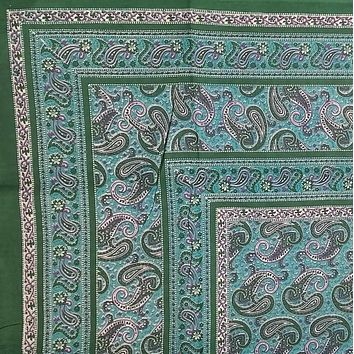 "Handmade Paisley Print Cotton Tapestry Beach Sheet Bedspread Coverlet Full 88""x106"" Green"