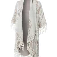 LE3NO Womens Aztec Print Open Front Knitted Shawl Wrap Cardigan with Tassels