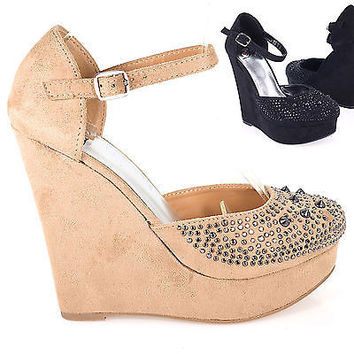 Direct by Soda, Metal Studded Platform Wedge D'Orsay Pump w Mary Jane Strap Women Shoe