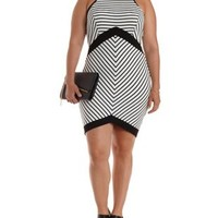 Plus Size Racer Front Striped Bodycon Dress