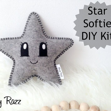 Star Softie DIY KIT, Grey Star Sewing Kit, Make your own star softie
