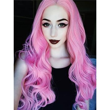 Soft Warm Pink Wavy Synthetic Lace Front Wig
