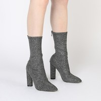 Emily Sock Fit Knitted Boot in Grey Shimmer
