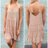 Chestertown Lace Tiered Taupe Tank Dress