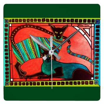 Legend of the Siamese - Whimsical Cat Art Square Wall Clock