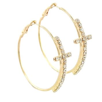Hoop Bold Crystal Statement Theme Cross Earrings in/with Clear