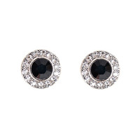 Anne Koplik Designs Jet Black and Clear Swarovski Crystals Post Earrings