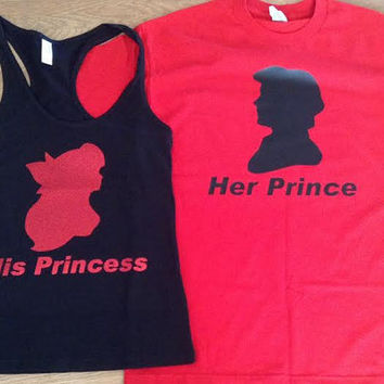 Free Shipping for US Glitter Ariel & Eric The Little Mermaid Prince and Princess Tank Tops