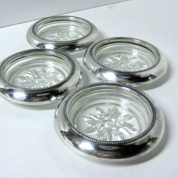 Vintage Sterling & Glass Drink Coasters Empire Silver Co. Glass Bottoms Sterling Rims