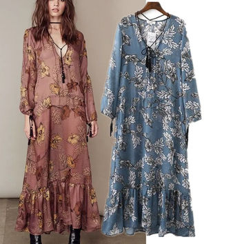 2017 Summer Long Sleeve Floral Maxi Dress Prom Dress Women's Fashion One Piece Dress [10907675791]