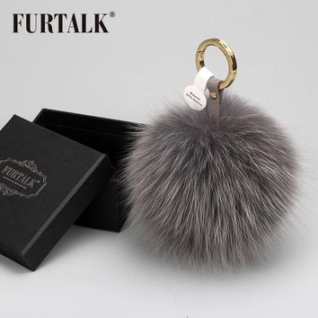 Real Fox Fur Pom Pom Keychain