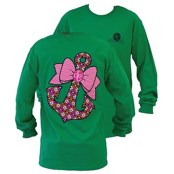 SALE Southern Couture Preppy Classic Anchor Bow Girlie Green Long Sleeve Bright T Shirt