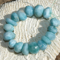 17 Larimar Irregular Beads Nuggets 4inch strand AAA Quality Semi-polished Blue Pectolite Bohemian Rough Meditation Healing Stone 13g 65ct