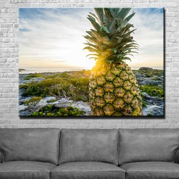 Pineapple Sunset Kitchen and Dining Room Wall Decor Canvas Set