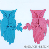 Vintage Retro Painted Owls Wall Hangings