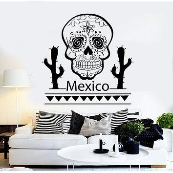 Vinyl Wall Decal Mexico Skull Cactus Mexican Latin America Stickers Unique Gift (ig4276)