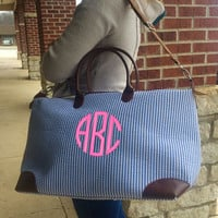 Champ BLUE Seersucker Weekender Bag Monogram Font Shown NATURAL CIRCLE in bright pink