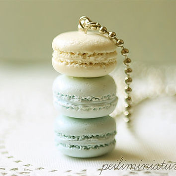 Macaron Jewelry - Trio Macarons Necklace - Blue Macarons - Gift Under 30