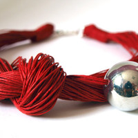 Red Linen Necklace With Silver on Luulla